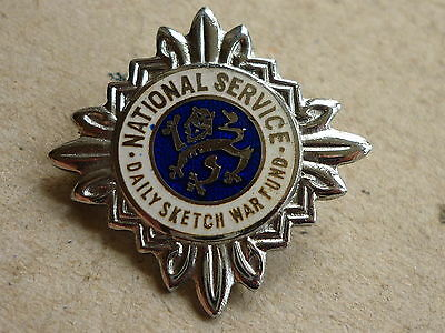 World War Two Home Front Badge National Service Daily Sketch War Fund