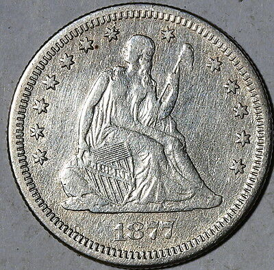 1877 S  US Seated Liberty Silver Quarter, Very Fine ! Details