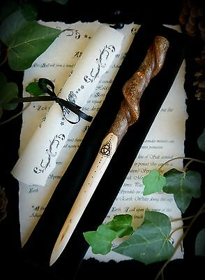 Hazel Wood Spiral Athame with Triqetra Wicca Witch Pagan Spell Altar Yule Gift