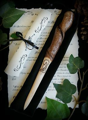 Hazel Wood Spiral Athame with Moon Gazing Hare Wicca Witch Pagan Spell Yule Gift