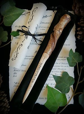 Hazel Wood Spiral Athame with Theban Script Wicca Witch Pagan Spell Yule Gift