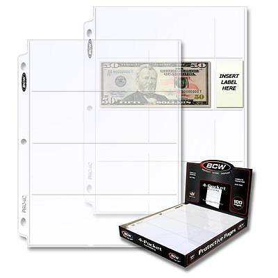 1 Box of 100 BCW 4 Pocket Pages Currency Storage Holders Sheets