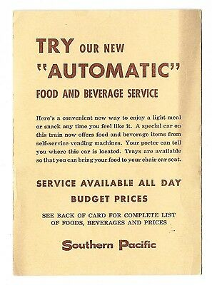 """1961 Southern Pacific """"Automatic"""" Food and Beverage Service Menu - Vending!"""
