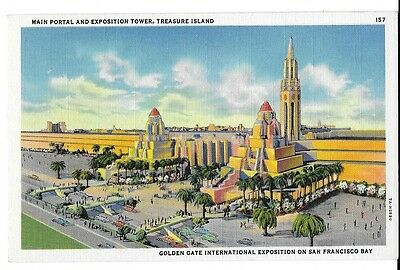 1939 Golden Gate Int'l Expo/GGIE Postcard ~ Main Portal and Exposition Tower