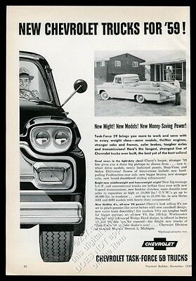1959 Chevrolet low-riding pickup truck photo vintage trade print ad