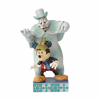 """Disney Jim Shore Mickey Haunted House Lonesome Ghost """"Spooked"""" Glow Figurine"""