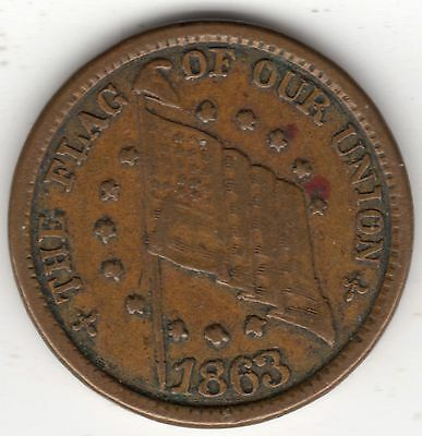 1863 U.S. The Flag of Our Union Shoot Him On the Spot DIX Civil War Token - NICE
