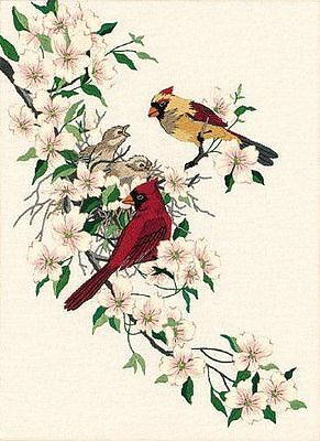 Dimensions Crewel Kit  Cardinals in Dogwood  D01516