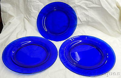 "Antique Set 3 Cobalt Blue Glass Plates 8.5"" Round with Ridged Rim Ground Base"