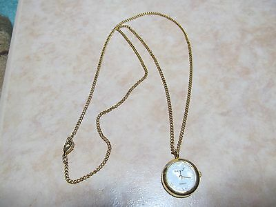 "Pre-owned working gold toned Bonetto Quartz Japan necklace watch on 26"" chain."