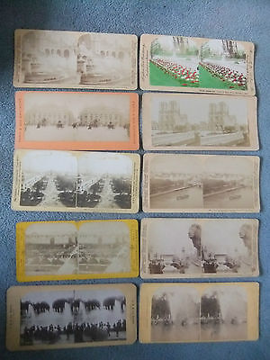 10 Early French Stereoview cards of  Paris