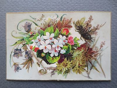 ANTIQUE Christmas Greetings Card Hidden Message Floral Scrap Fly Victorian 1870s