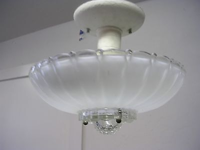 Vintage Retro 1930's Ceiling Light With Glass Shade Globe Moe Light
