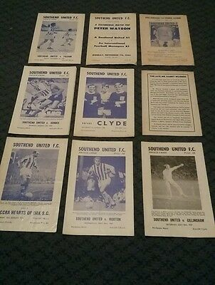 Nine Rare Southend Utd Friendly Programmes 1960/70 Villa Fulham Dundee