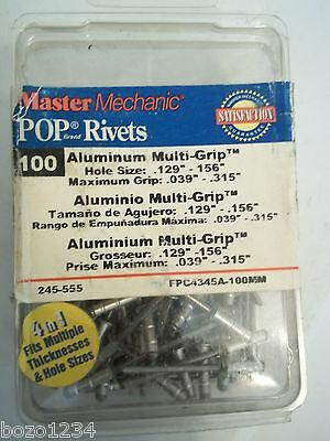 Bnip Master Mechanics 245-555 Pop Rivets Box 100 Aluminum Multi Grip Multiple Sz