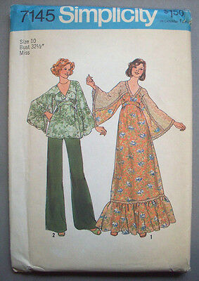 1970's? wide sleeve long dress and top women  pattern 7145 size 10