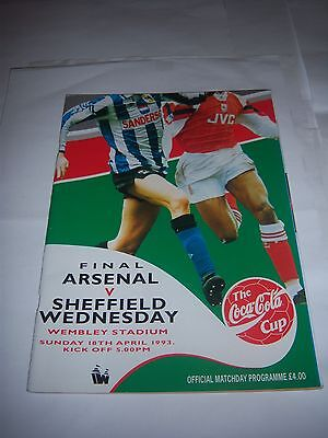 1993 COCA-COLA (LEAGUE) CUP FINAL - ARSENAL v SHEFFIELD WEDNESDAY - PROGRAMME