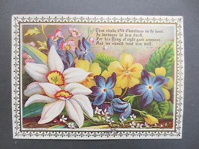 ANTIQUE CHRISTMAS Card Bright Coloured Flowers Charles Reynolds Chromo Victorian