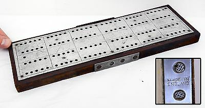 Lovely Antique Large Metal Topped Cribbage Board - Rustic. 31.5cm in Length.
