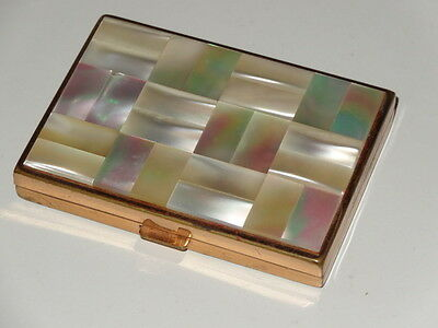 Mother Of Pearl & Brass Mirror Powder Compact Agme Swiss
