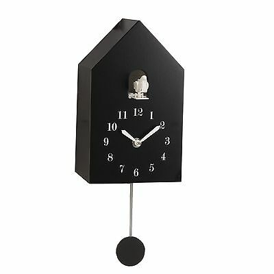 Modern Wooden Cuckoo Wall Clock. Auto Night Shut Off.new.black Only Now.
