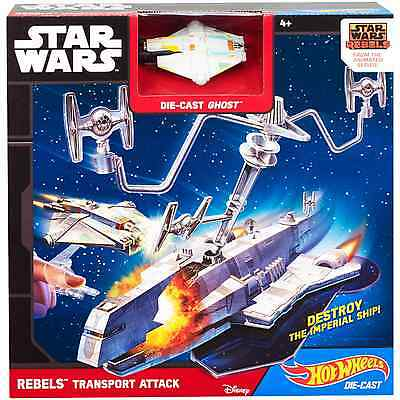 Hot Wheels Star Wars Rebels Transport Attack INTERACTIVE Playset W/ GHOST SHIP