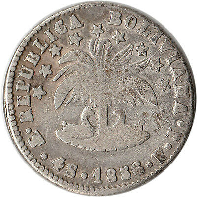 1856 Bolivia 4 Soles Large Silver Coin KM#123.2