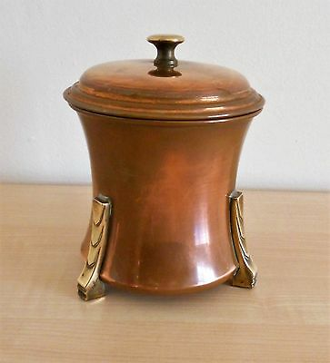 Arts and Crafts copper and brass tea caddy.