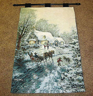 Christmas Visit ~ Winter Sleigh Ride Tapestry Wall Hanging ~Artist, Nicky Boehme
