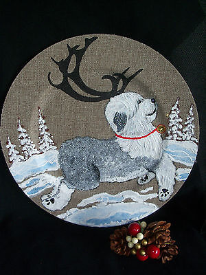 HP Old English Sheepdog reindeer burlap covered charger plate hand painted art