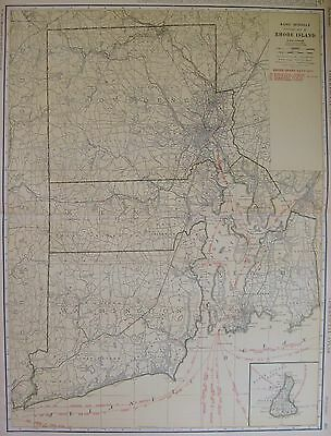 1927 RARE Rhode Island Map of Rhode Island with Railroads Poster Print Size 3291
