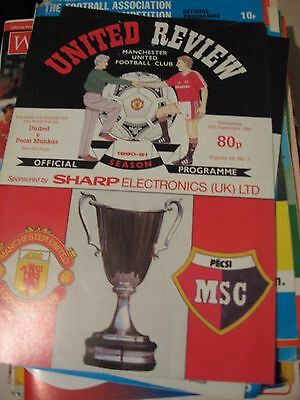 1990-91 Manchester United v Pecsi Munkas Cup winners cup 1st round 1st leg 19.9