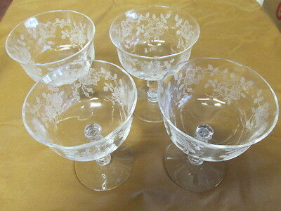 """4 Fostoria Willowmere 4 1/4"""" Goblet Footed Sherbet Excellant"""
