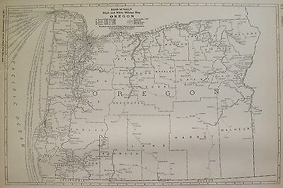 RARE Antique OREGON Map of Oregon Mileage 1927 Oregon Poster Print Size Map 3298