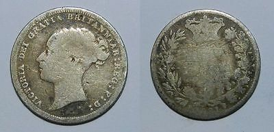 Great Britain :  Queen Victoria Silver Sixpence 1881