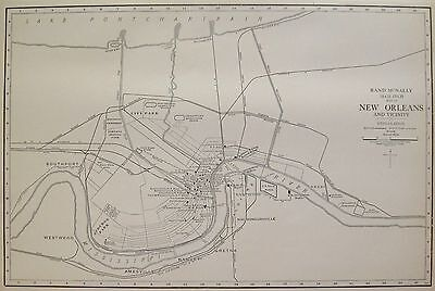 1927 RARE New Orleans Map of New Orleans Louisiana Poster Print Size Map 3300
