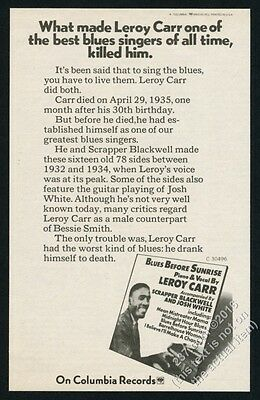 1971 Leroy Carr photo Blues Before Sunrise album release vintage print ad