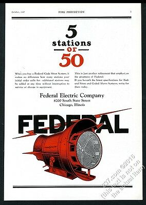 1927 Federal Electric Code warning siren color art vintage trade print ad 1