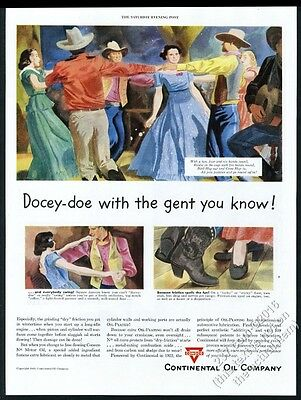 1949 square dance dancing art Conoco oil gas vintage print ad