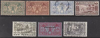 New Hebrides Collection Seven Early Stamps Fine Used