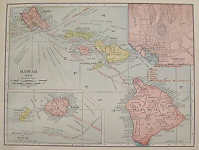 1914 RARE HAWAII Map of Hawaii with Railroads RARE Poster Print Size Map 3303