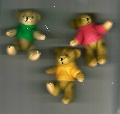 "NEW Three Delton Articulated Teddy Bear 4"" Ornaments  #4069-0  Group #2"