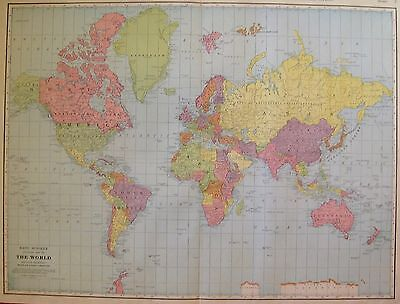1927 Rare Size WORLD Map Antique Map of THE WORLD Uncommon Size! 3309