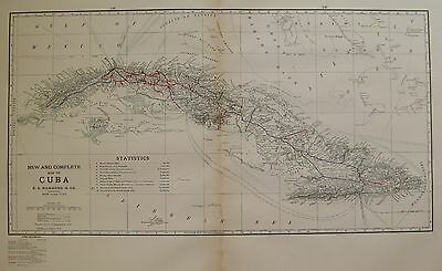 1914 RARE Antique CUBA MAP Beautiful Vintage Map of Cuba UNCOMMON 3310