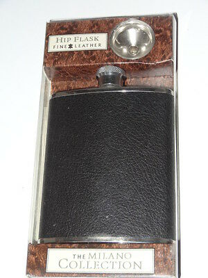 Hip Flask Black Leather 6 Oz Stainless Steel Boxed
