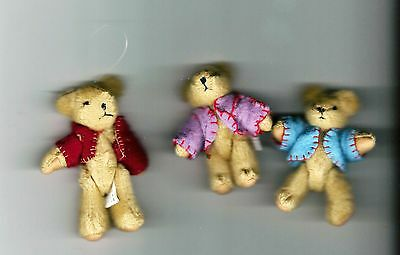 "NEW Three Delton Articulated Teddy Bear 3"" Ornaments  #4709-0  Group #3"