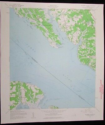 Mulberry Island Virginia James River Pagan River vintage 1960 USGS Topo chart
