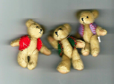 "NEW Three Delton Articulated Teddy Bear 3"" Ornaments  #4070-0  Group #5"