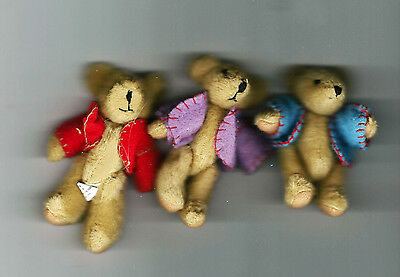 "NEW Three Delton Articulated Teddy Bear 3"" Ornaments  #4070-0  Group #7"