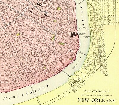 1914 RARE Size NEW ORLEANS Map Vintage Map of New Orleans Louisiana 3317